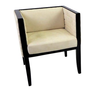 Black Lacquer & Off-White Quilted Ultrasuede Yale Corner Chair by Pietro Costantini For Sale