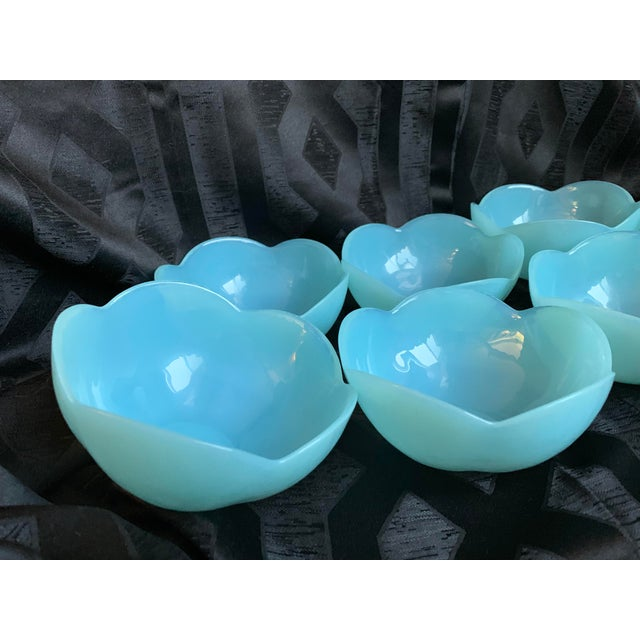 Italian 1960s Italian Murano Tiffany Blue Opalescent Lotus Glass Bowls by Cenedese - Set of 7 For Sale - Image 3 of 13