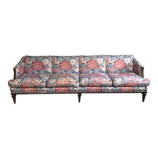 Mid-Century Chinoiserie Lotus Print Sofa For Sale