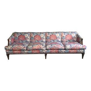Mid-Century Chinoiserie Lotus Print Sofa