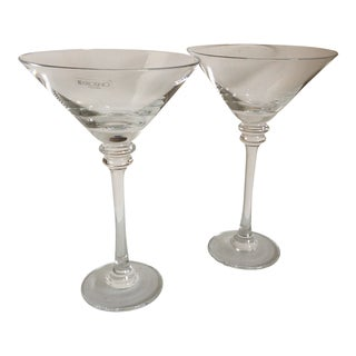 Pair of Krosno Crystal Martini Glasses From Poland For Sale