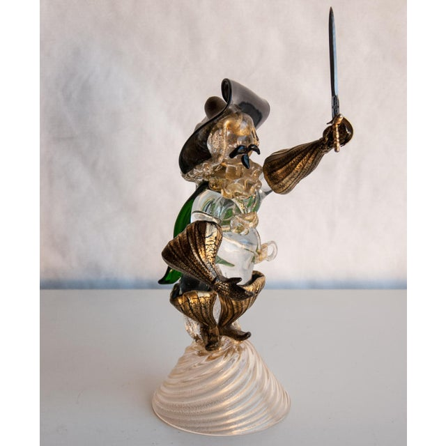 Green Circa 1950 Murano Italy Cavalier Art Glass Figure in the Style of Salviati For Sale - Image 8 of 8