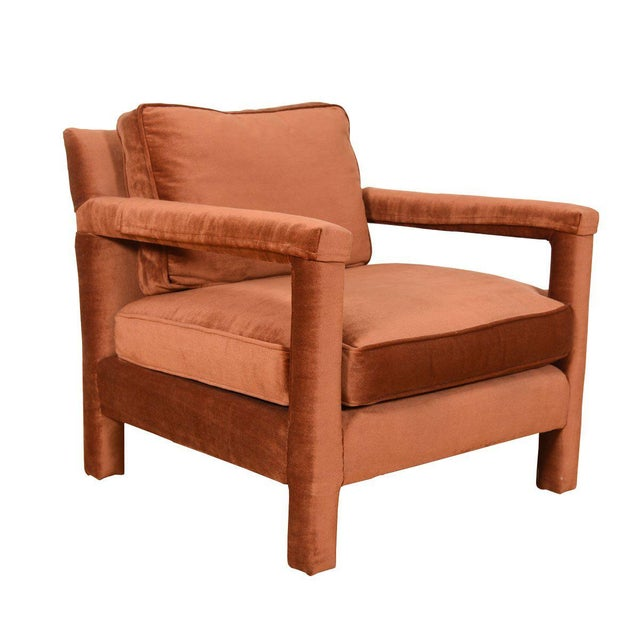 Copper Crushed-Velvet Upholstered Club Chair For Sale - Image 10 of 10