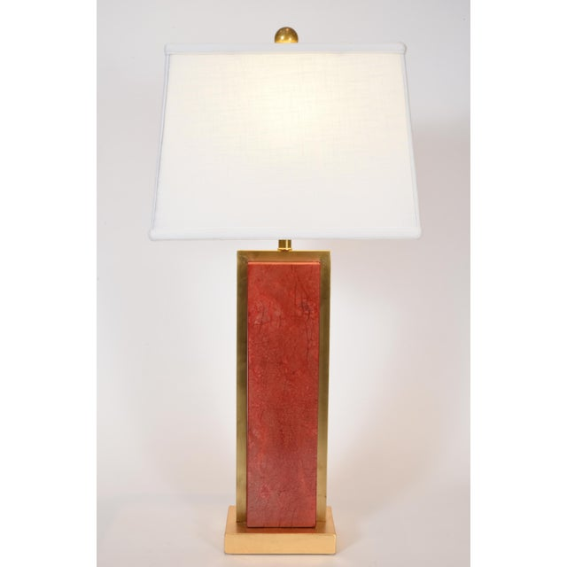 Art Deco Orange Jade Table / Task Lamps With Brass Accents - a Pair For Sale - Image 3 of 8