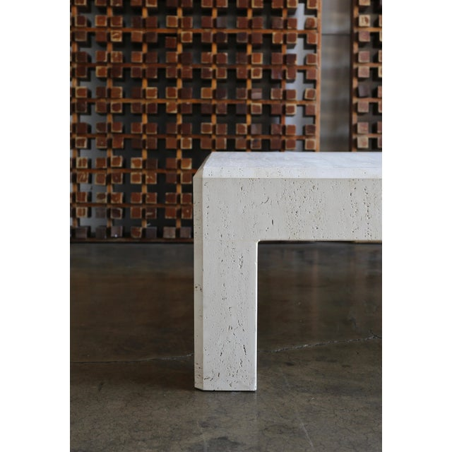 Square Travertine Coffee Table Circa 1980 For Sale In Los Angeles - Image 6 of 8