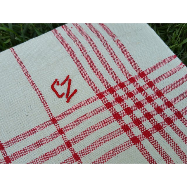 Antique 1920s Red Plaid Glass Cloths - Set of 6 For Sale - Image 5 of 5