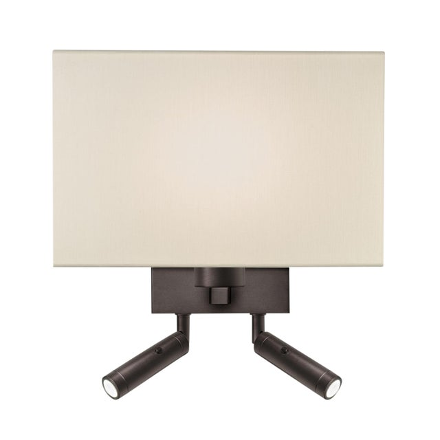 Combination Wall Light With Twin LED Reading Light in Black Bronze For Sale