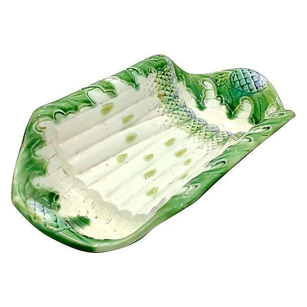 Antique Majolica Asparagus Serving Platter For Sale In Atlanta - Image 6 of 6