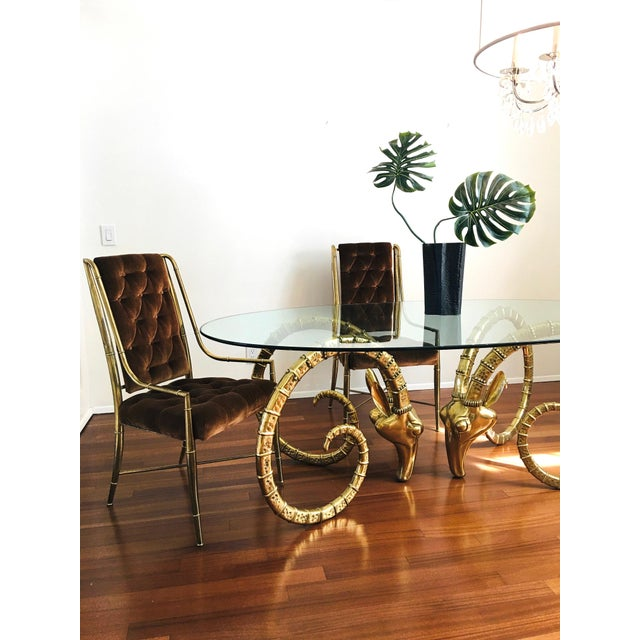 1970s Vintage Brass Ram's Head / Gazelle Alain Chervet Style Hollywood Regency Dining Table For Sale - Image 5 of 13