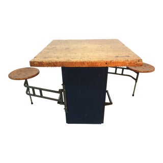 Industrial Swing Out Stool Butcher Block Table