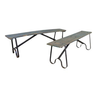 Pair of French Industrial Benches For Sale