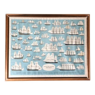 Mid Century Swedish Language 'Sailboats Through the Centuries' Print For Sale