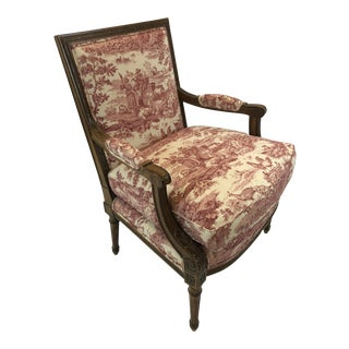 1980s Vintage Regal Provencal Carved Fruitwood and Toile Upholstered Arm Club Chair For Sale