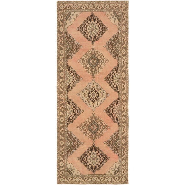 Country Vintage Turkish Peach and Brown Runner Rug - 4′10″ × 12′1″ For Sale - Image 3 of 3