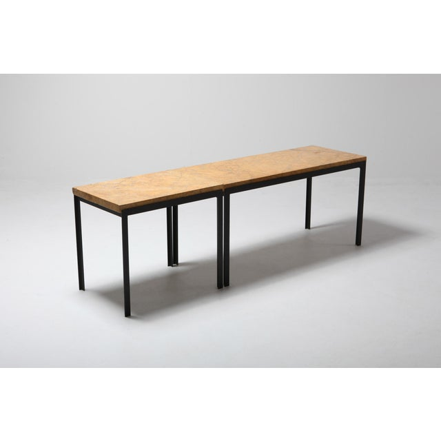 Florence Knoll Marble & Black Steel Side Tables For Sale - Image 9 of 10