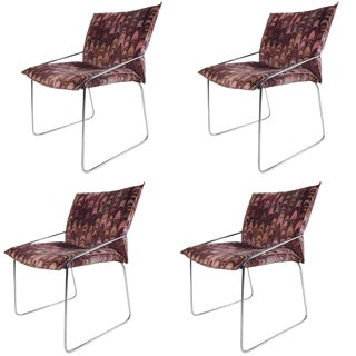 Set of Four Modern Chrome Dining Chairs With Jack Lenor Larsen Fabric For Sale