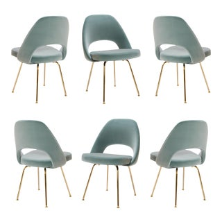 Original Vintage Saarinen Executive Armless Chairs Restored in Celadon Velvet, Custom 24k Gold Edition - Set of 6 For Sale