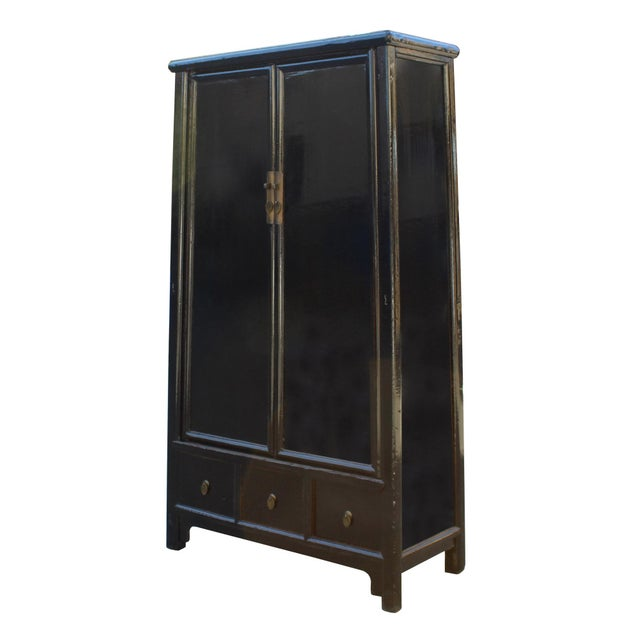 Asian Chinese Distressed Black Lacquer Ladder Shape Tall Armorie Cabinet For Sale - Image 3 of 5
