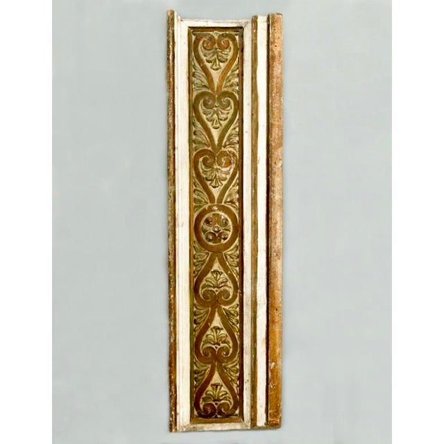 Early twentieth century architectural piece of carved wood with a cream color and gilded finish, c.1900. Found in France....