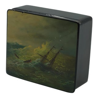 1860 19th Century Hand Painted Russian Papier Mache Black Lacquered Box For Sale