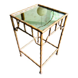 Brass SideTable Mirror Top Bamboo Motif For Sale