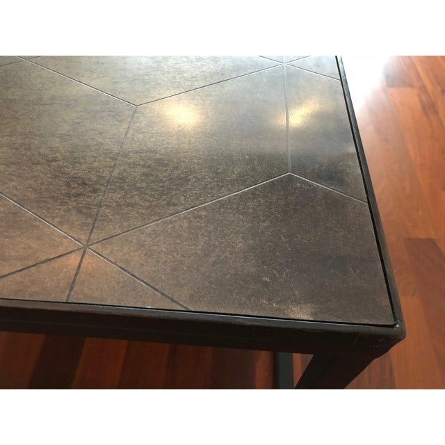 2010s Restoration Hardware Metal Parquet Coffee Table For Sale - Image 5 of 6