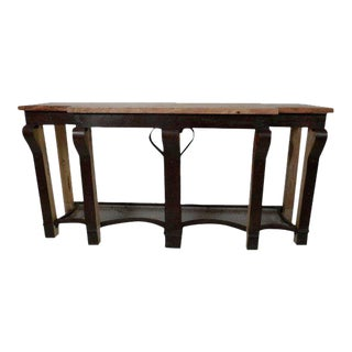 Metal and Wood Console Table For Sale