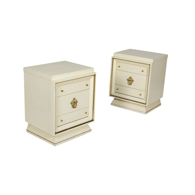 Hollywood Regency White Lacquer Nightstands - a Pair For Sale