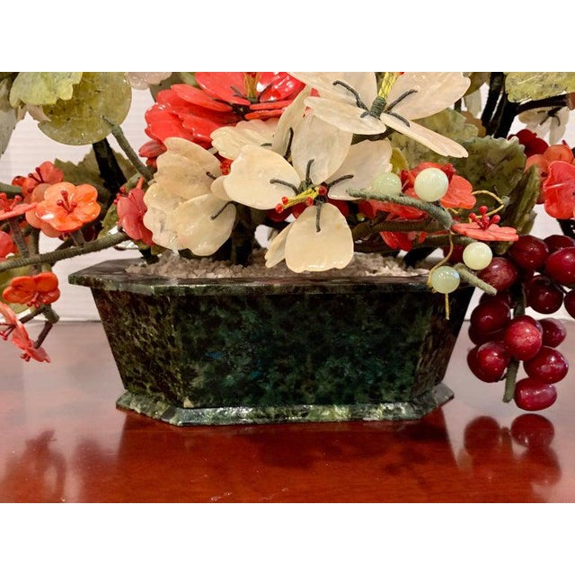 Vintage Chinese Export Hardstone Basket Floral Arrangement For Sale - Image 11 of 13