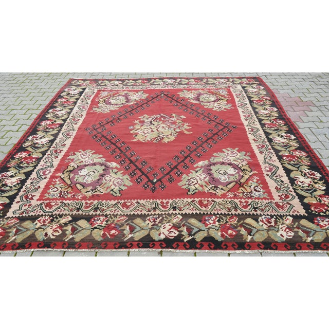"Anatolia Turkish Kilim Large Rug - 9'6"" X 10'8"" - Image 9 of 10"