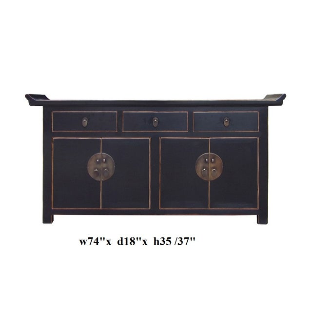 Black Lacquer Moon Face Credenza - Image 5 of 5
