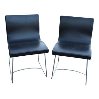 20th Century French Leather Side Chairs - a Pair For Sale