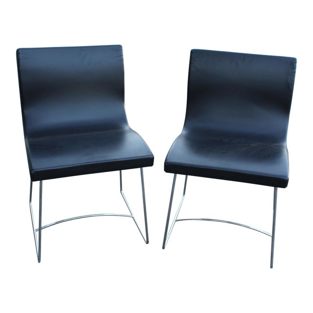 Image of 20th Century French Leather Side Chairs - a Pair