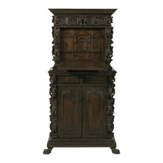 1800s Antique Figural Italian Renaissance-Style Highly Carved Secretary Desk For Sale