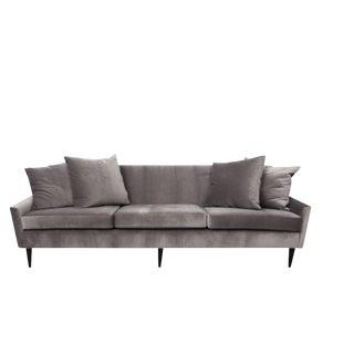 1950s Scandinavian Gray Velveteen Sofa For Sale