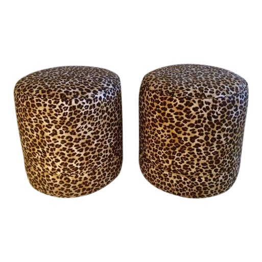 Todd Hase Namesake Leopard Print Ruth Drum Ottomans- A Pair For Sale