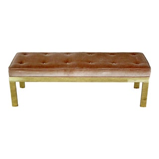 Mid Century Modern Paul Evans Style Tufted Velvet Solid Brass Bench Seat 1960s For Sale