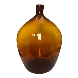 Amber Orange French Hand Blown Demijohn Bottle Wine Jug 16th to 18th Century For Sale