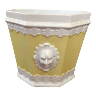 1980s Vintage Mottahedeh Yellow Cachepot For Sale