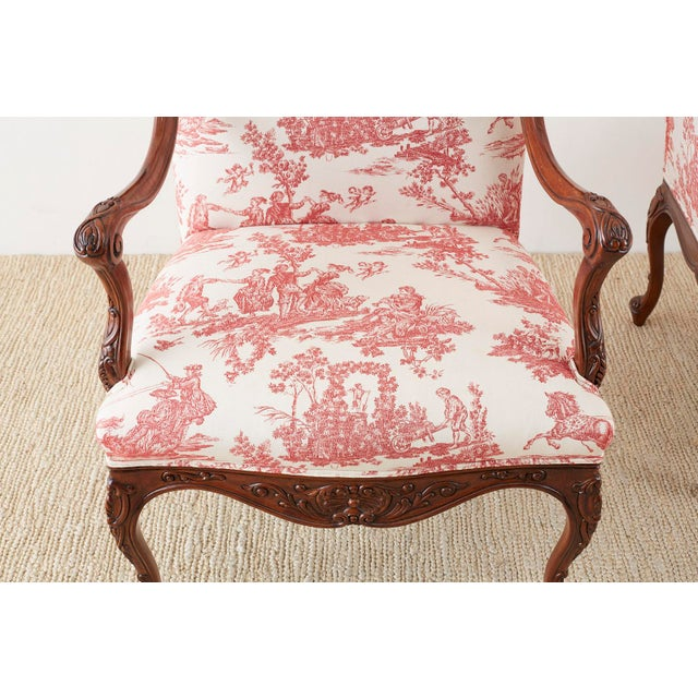 Pair of French Provincial Style Walnut Toile Fauteuil Armchairs For Sale - Image 10 of 13