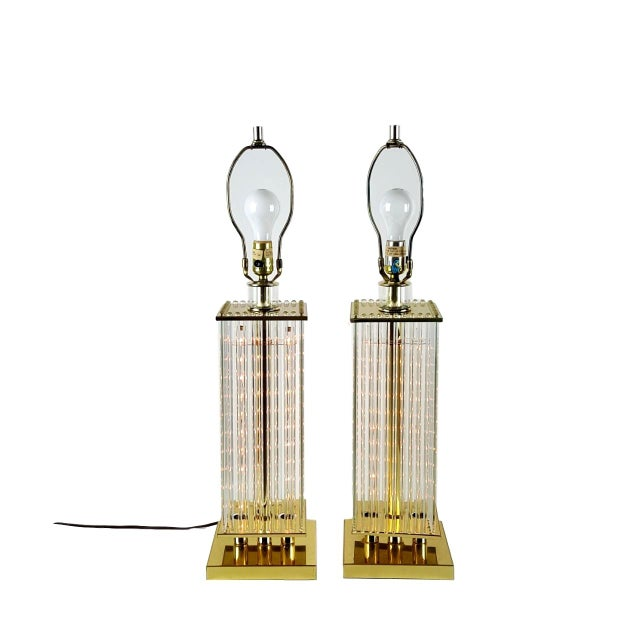 Sciolari-Style Glass Rod Table Lamps - A Pair - Image 2 of 10