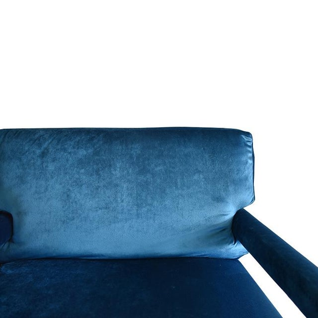 Bauhaus Mid-Century Blue Velvet Open Arm Club Chairs - a Pair in the Style of Milo Baughman For Sale - Image 3 of 9