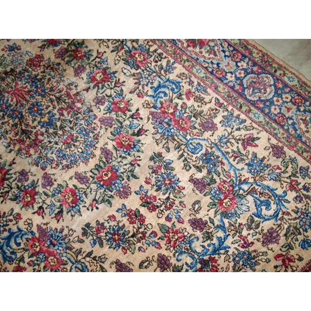 1920s, Handmade Antique Persian Kerman Rug 4.2' For Sale - Image 9 of 11