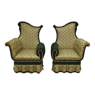French Style Mahogany Carved Bergere Chairs - a Pair