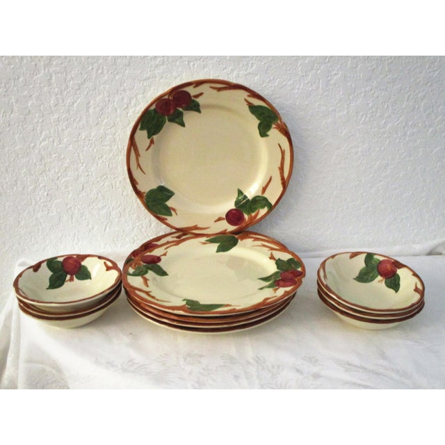 """Charming set of six Franciscan dinner plates and six coupe/cereal bowls in the """"Apple"""" pattern (1940-1984). Excellent..."""