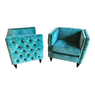 Mid-Century Modern Style Teal Tufted Oversized Box Form Armchairs - a Pair For Sale