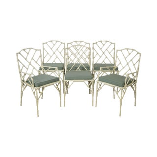 Chinese Chippendale Style Set of 6 Faux Bamboo Painted Metal Dining Chairs by Tropitone