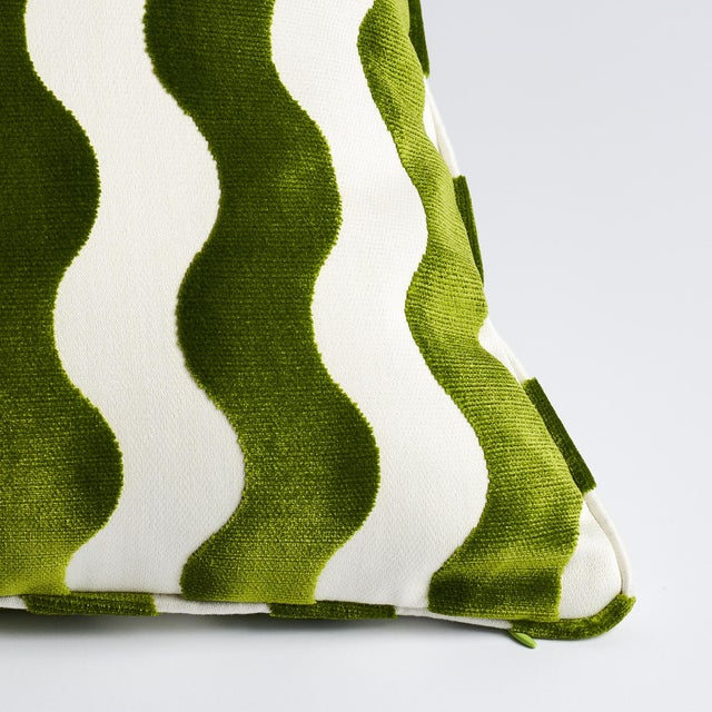 This pillow features The Wave by Miles Redd for Schumacher with a self-welt finish. A chic, graphic cut velvet inspired by...