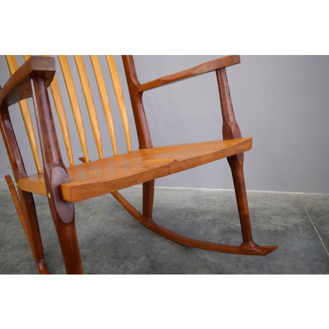 Extraordinary Bench-Made Cherry Rocking Chair, Sam Maloof Style For Sale In Portland, ME - Image 6 of 10