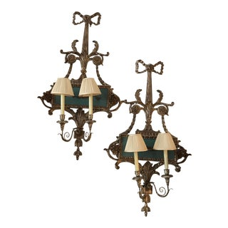 Vintage Italian Silver and Turquoise Wood Sconces - a Pair For Sale